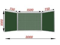 3-элементные Доска школьная магнитно-меловая зеленая ДА-32 зел.клетка/центр