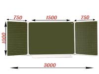 3-элементные Доска школьная магнитно-меловая зеленая ДА-32 (клетка-линейка, разлиновка)