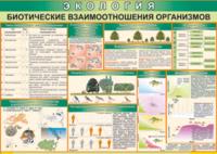 Печатные пособия Таблица Биотические взаимоотношения организмов (Винил)