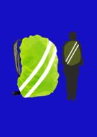 Световозвращающая продукция  Чехол на рюкзак. 25-35 литров. Ткань ярко-зеленый Оксфорд, 150D. Водоотталкивающая. Штрих-код