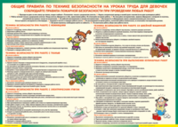Кабинет труда для девочек Таблица Правила безопасности на уроках труда для девочек (Винил)