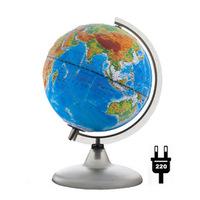 Рельефные и Ландшафтные глобусы ГЛОБУС «ДВОЙНАЯ КАРТА» ДИАМЕТРОМ 200 ММ РЕЛЬЕФНЫЙ С ПОДСВЕТКОЙ