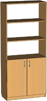 Шкафы и стеллажи Офисный шкаф вверх открытый, низ глухой