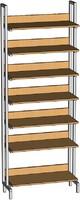 Библиотечная мебель Шкаф-стеллаж односторонний на металлокаркасе с горизонтальными полками